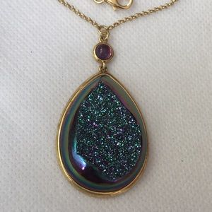 Jewelry - Layered Gold over Sterling Silver Druzy Necklace